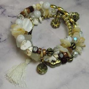 Wrap Bracelet Eclectic Stone and Bead Mix Cream